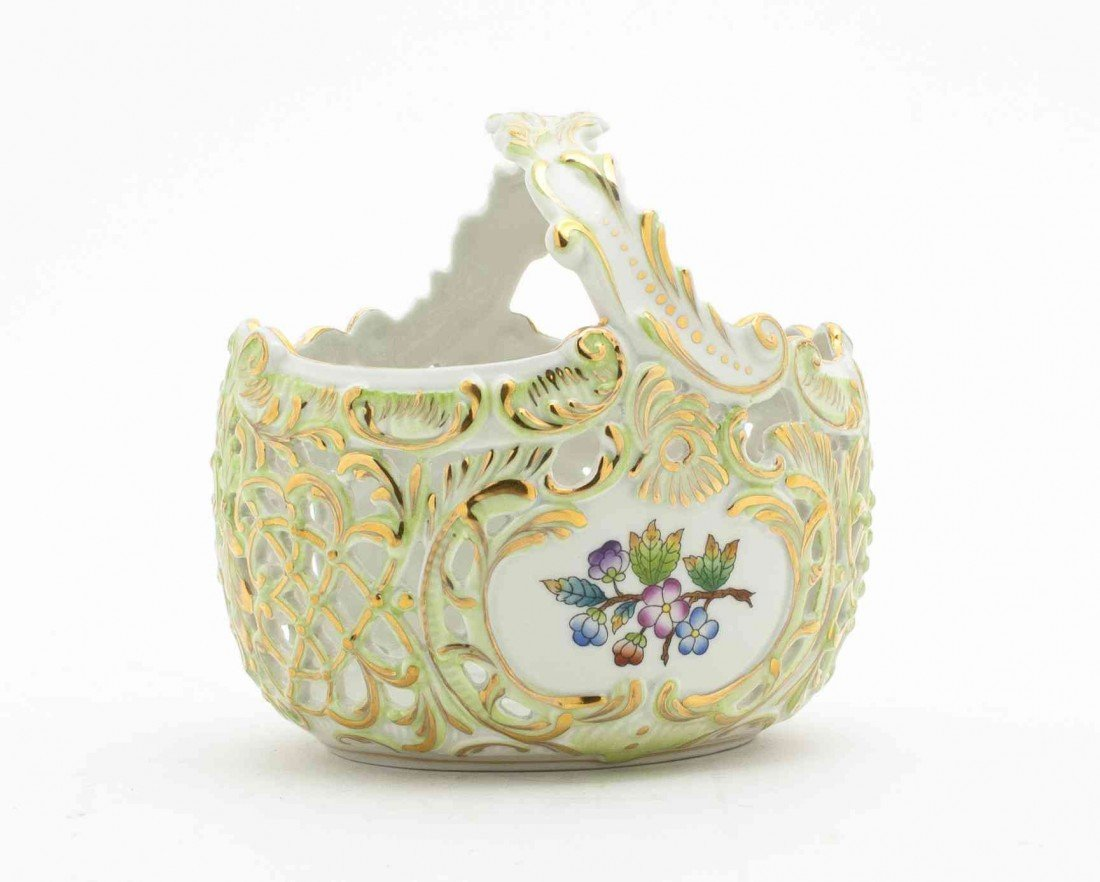 10: A Herend Porcelain Basket, Height 6 inches.