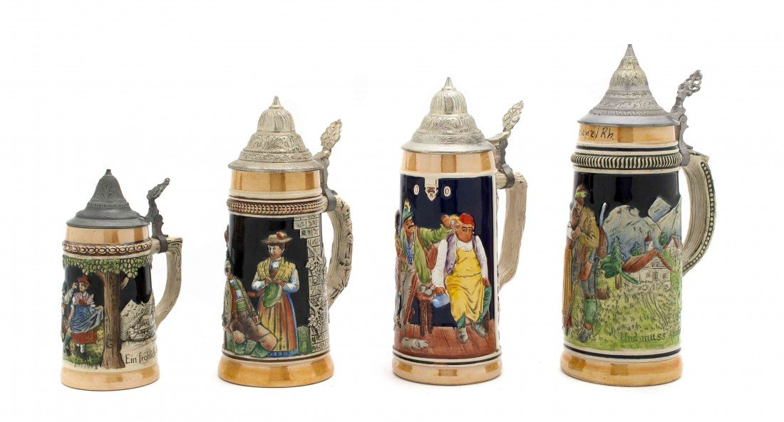 13: A Collection of Four German Steins, Height of talle