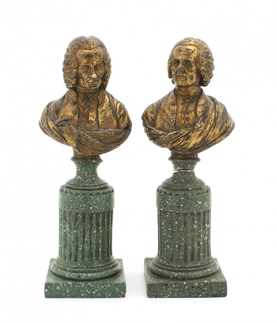 14: A Pair of Gilt Plaster Busts, Height 9 inches.