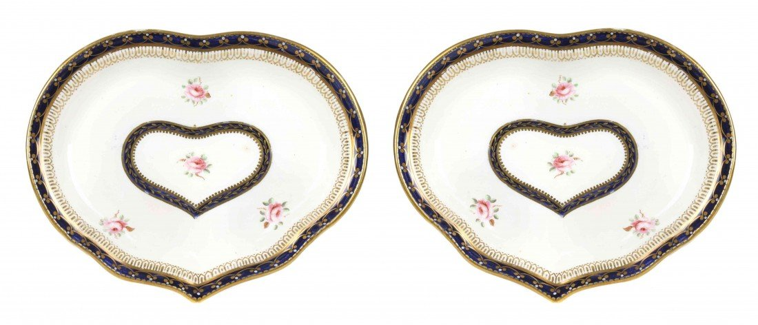 15: Two Derby Porcelain Side Dishes, Length 9 1/4 x wid