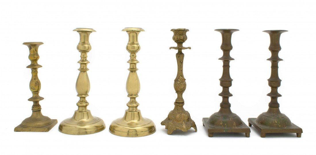 19: A Collection of Six Brass and Metal Candlesticks, H
