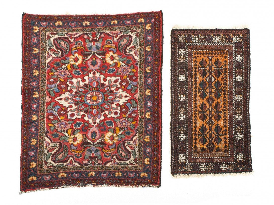 21: A Pair of Persian Wool Rugs, Largest: 34 x 26 1/4 i