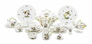 """104: A Herend Rothschild Bird"""" Pattern Porcelain Dinner"""