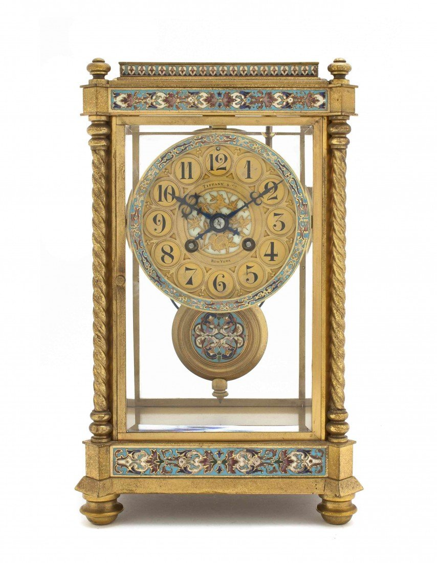 169: An American Gilt Bronze and Enamel Bracket Clock,