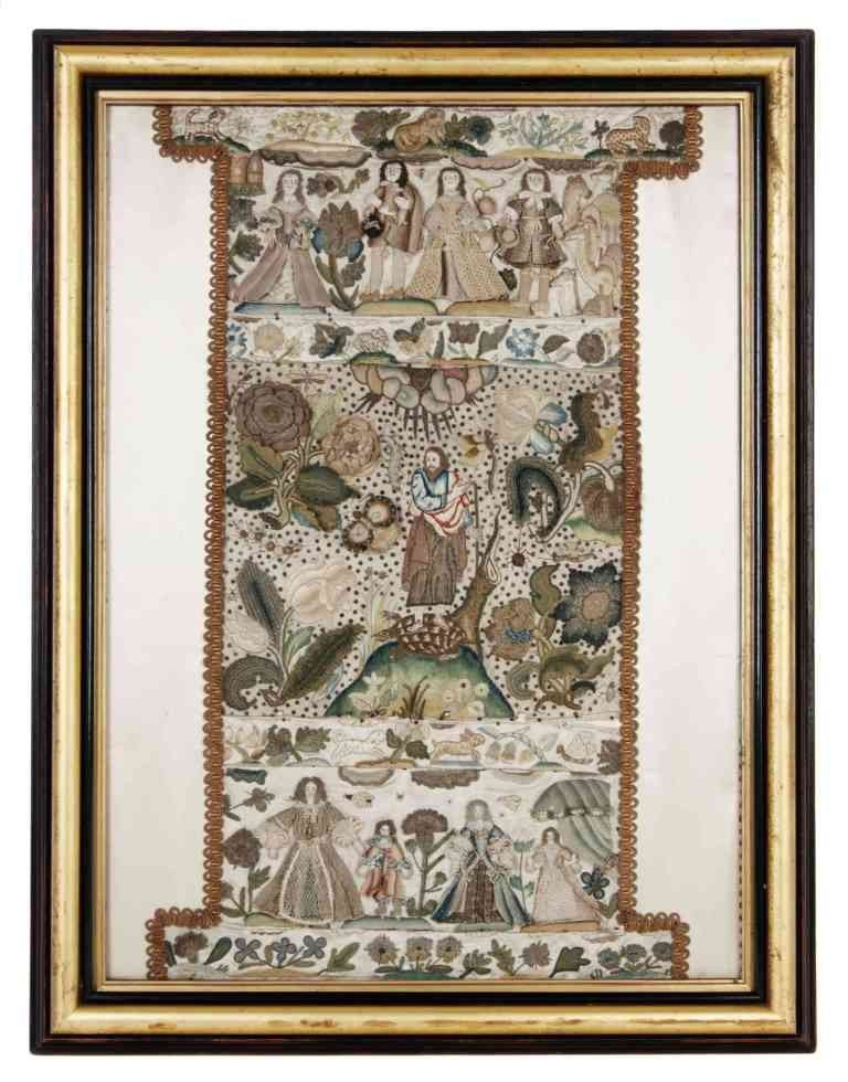 2: A English Stumpwork Panel, Height 25 3/8 inches x wi