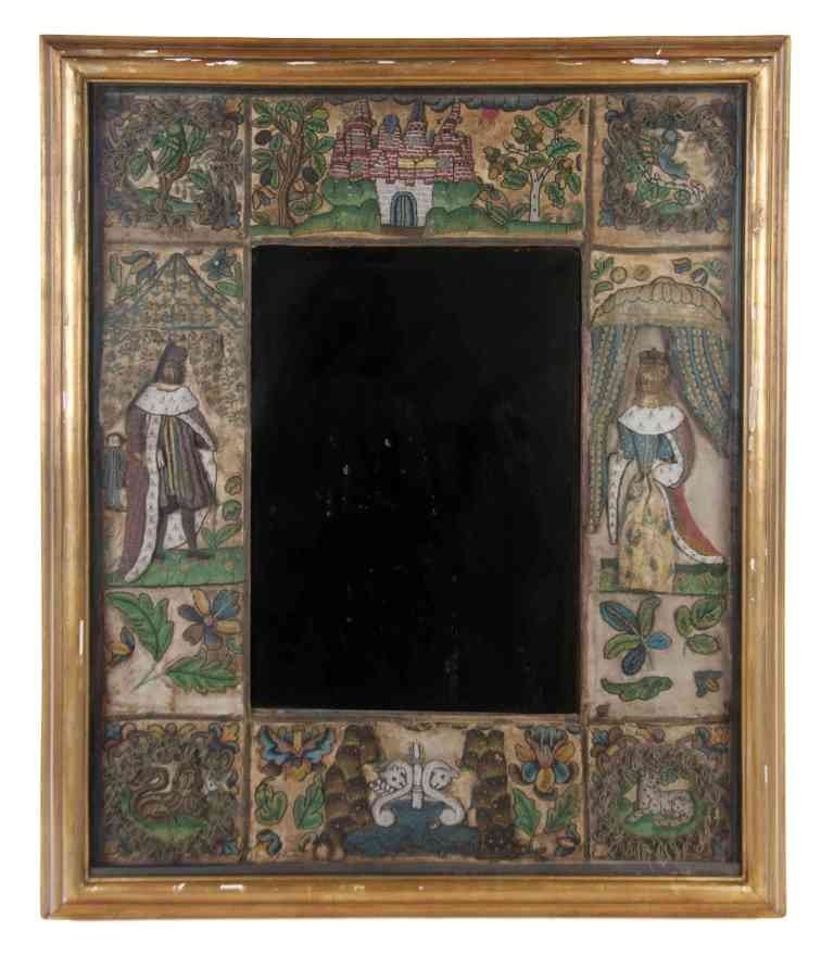 8: A Charles II Stumpwork and Beadwork Framed Mirror, H