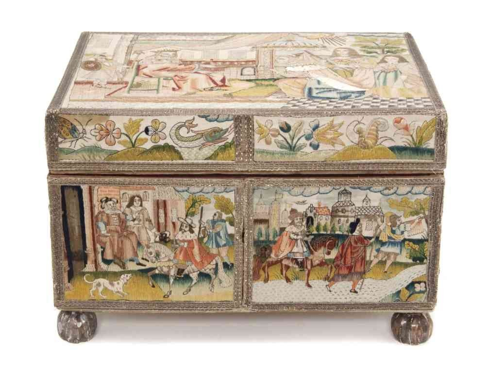 9: A Charles II Stumpwork and Needlework Casket, Height