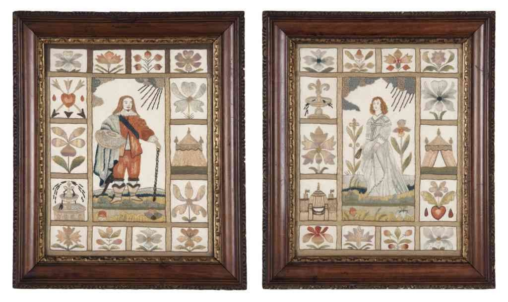 11: A Pair of English Needlework Pictures, Height 10 x