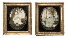Two English Needleworks, Height 4 7/8 X Width 3 7/8