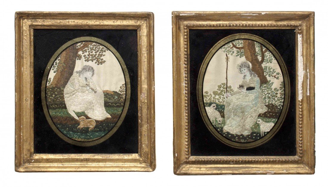 12: Two English Needleworks, Height 4 7/8 x width 3 7/8