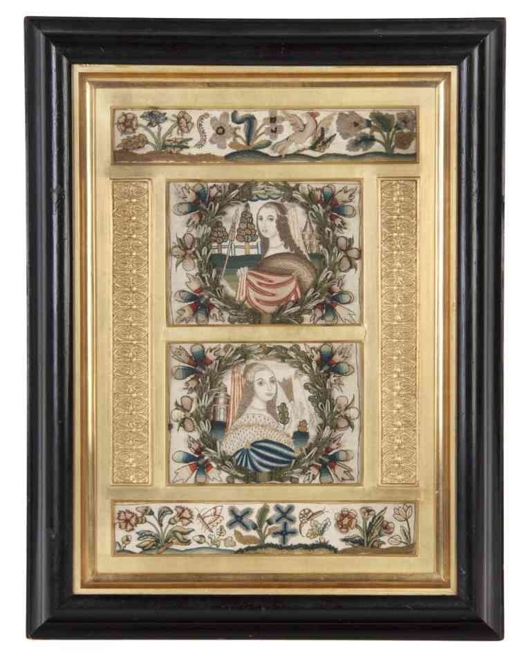14: An English Framed Needlework Picture, Height 21 x w