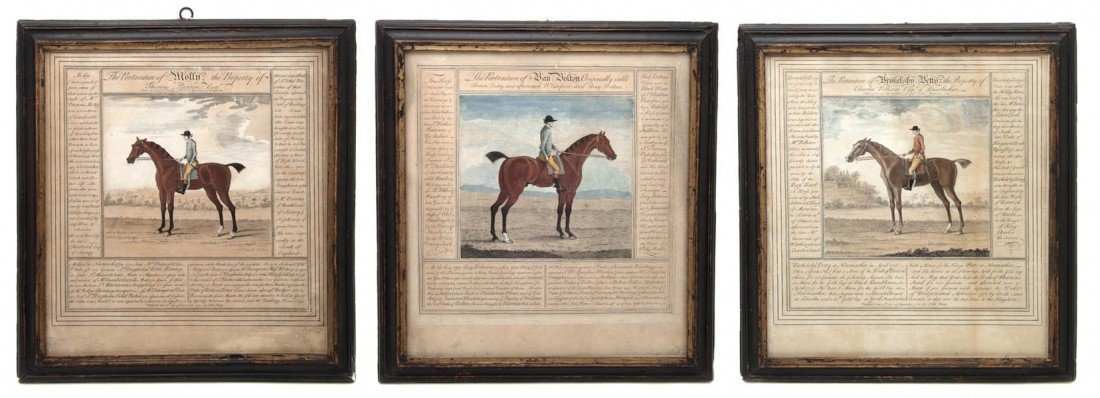 20: A Set of Six English Handcolored Equestrian Engravi