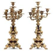 218 A Pair of Louis XV Gilt Bronze and Marble SevenLi