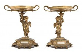 A Pair Of Continental Gilt Bronze Figural Tazze, H