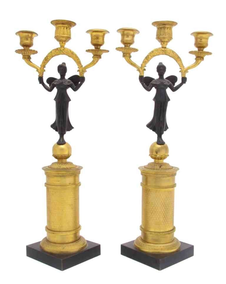 265: A Pair of Gilt and Patinated Bronze Figural Three-