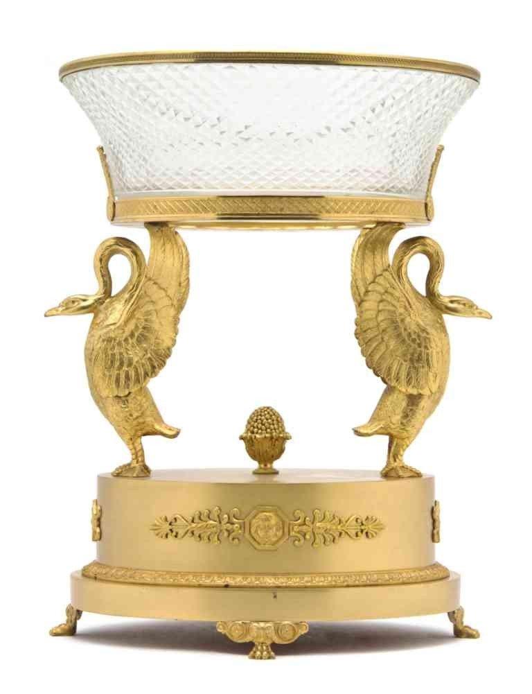 267: An Empire Gilt Bronze and Cut Glass Center Piece,