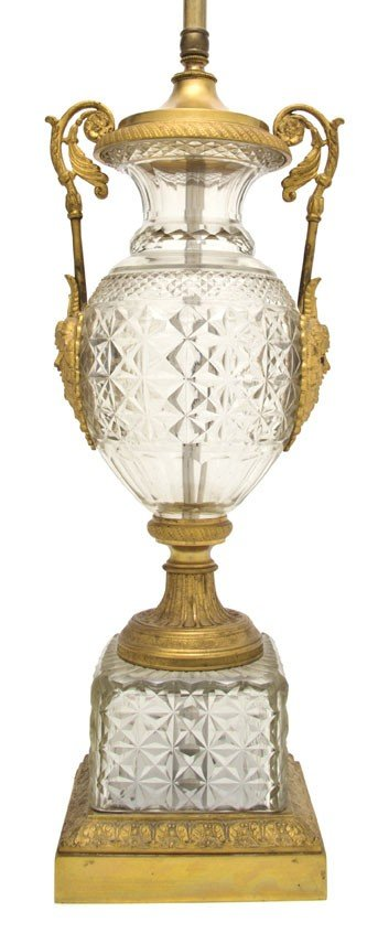267A: A Gilt Bronze Mounted Cut Glass Urn, Height overa