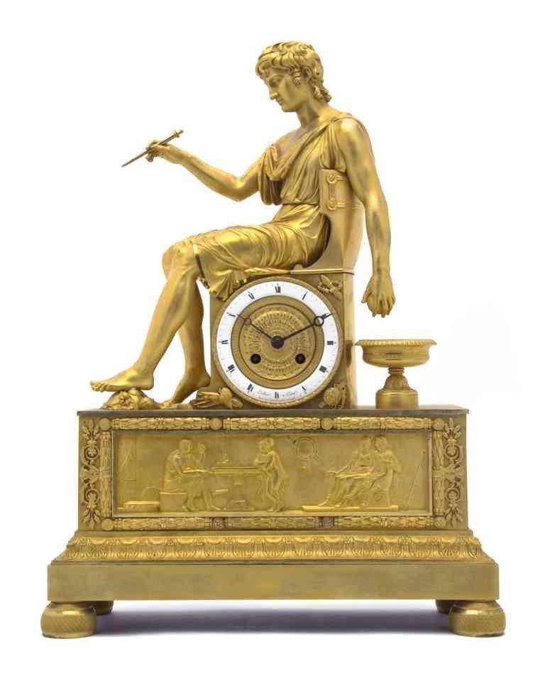 268: An Empire Gilt Bronze Mantel Clock, Lallier & Comp