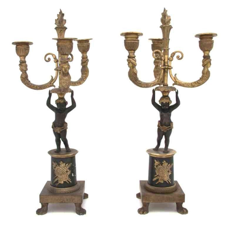 270: A Pair of Empire Style Gilt and Patinated Bronze T