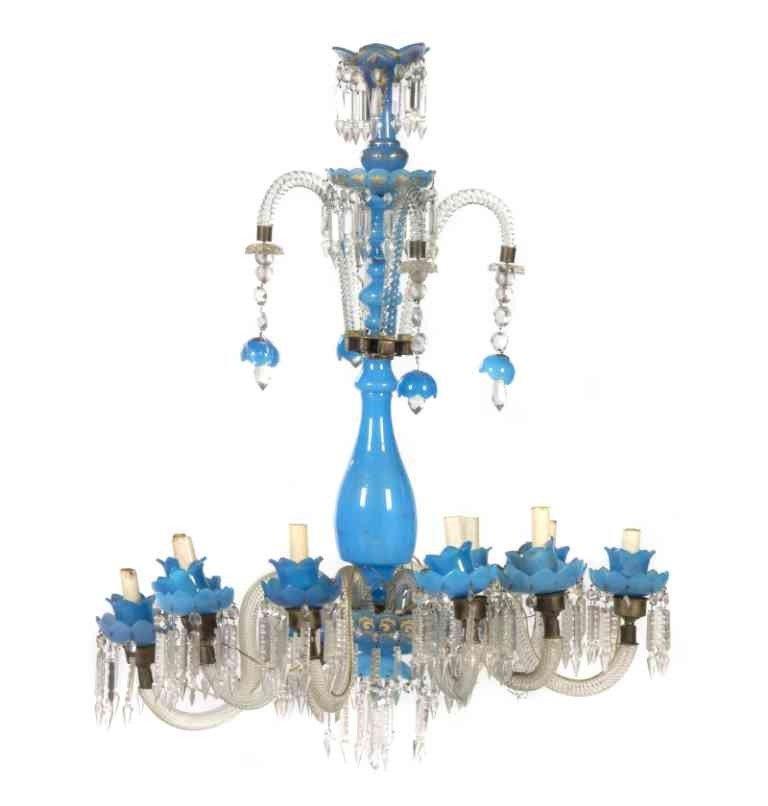 271: An Opaline Glass Ten-Light Chandelier, Height 35 i