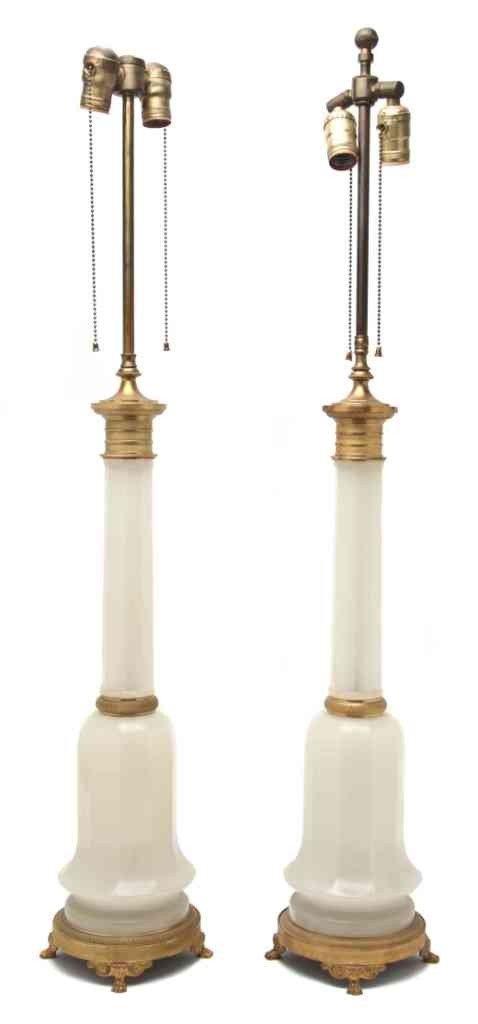 274: A Pair of Gilt Bronze Mounted Opaline Glass Lamps,
