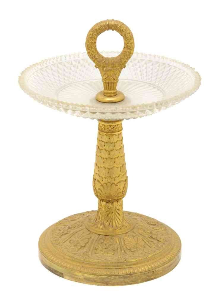 275: An Empire Gilt Metal and Cut Glass Tazza, Height 9