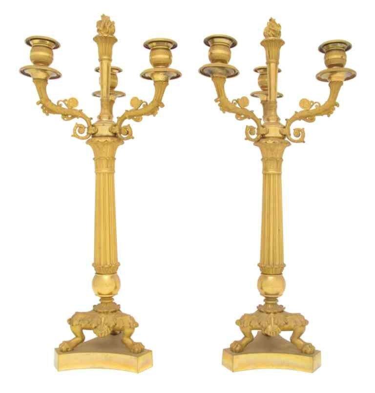 276: A Pair of Empire Gilt Bronze Three-Light Candelabr