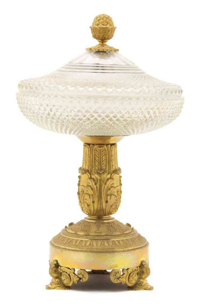278: An Empire Gilt Metal and Cut Glass Covered Compote