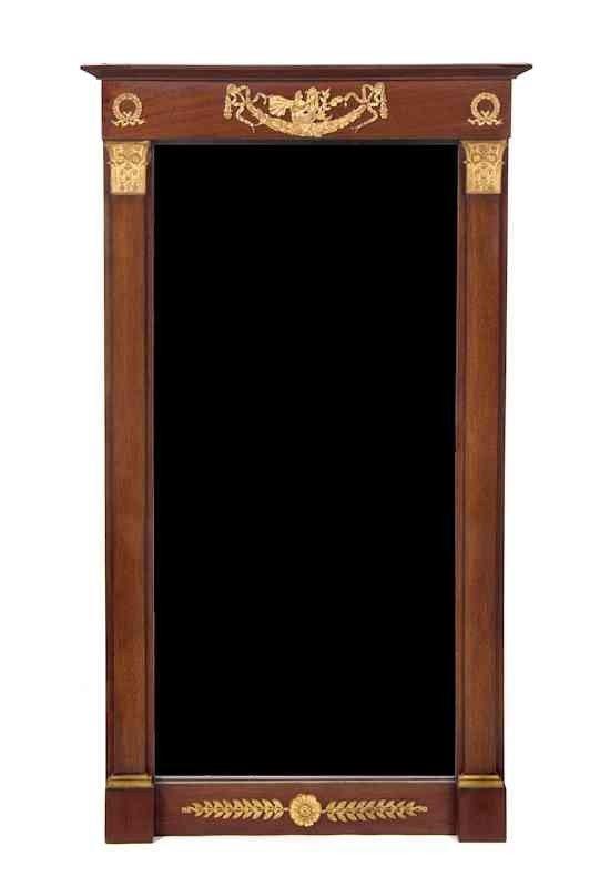 280: An Empire Gilt Bronze Mounted Mahogany Mirror, Hei