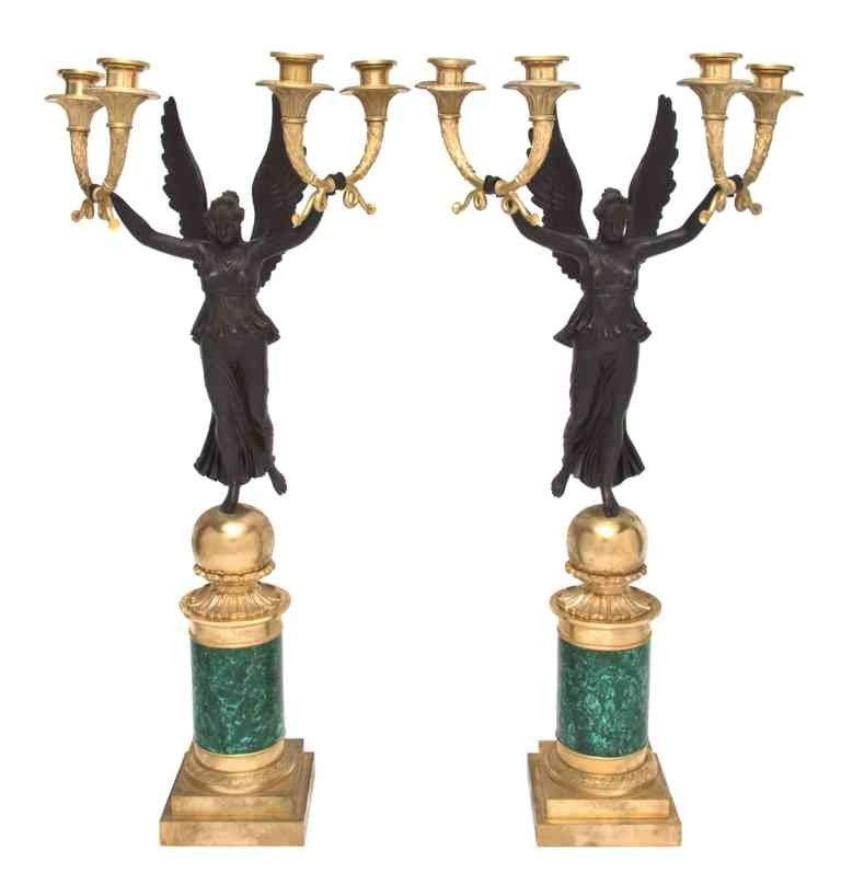 281: A Pair of Empire Gilt Patinated Bronze and Malachi
