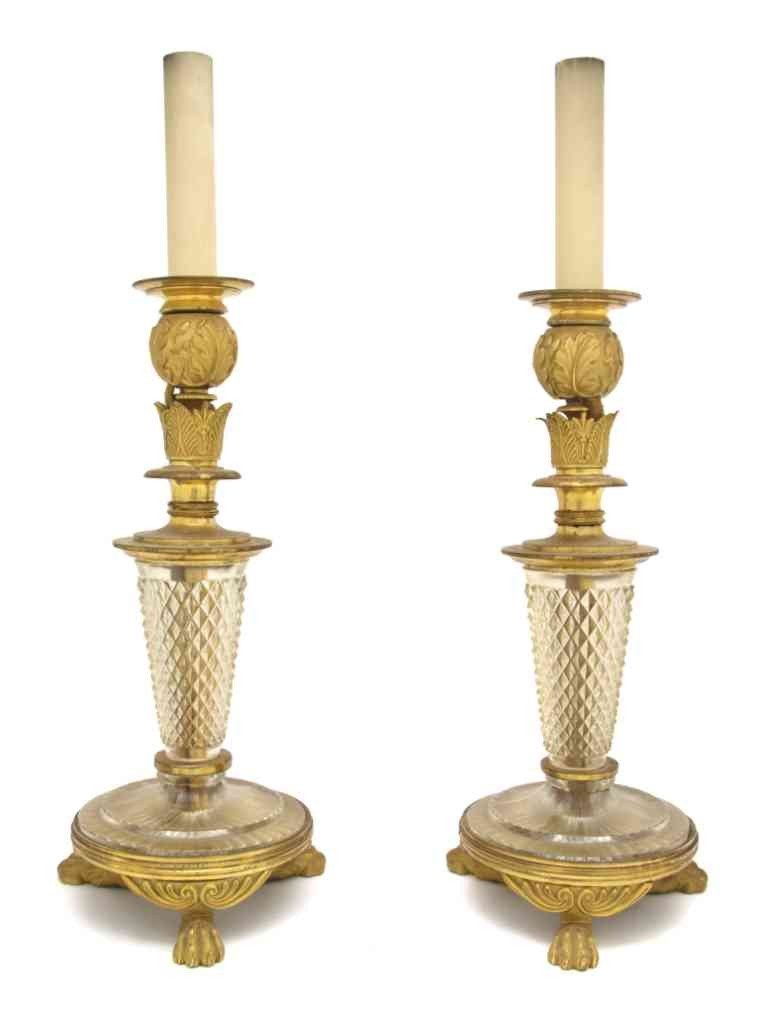 282: A Pair of Empire Style Gilt Bronze and Cut Glass C