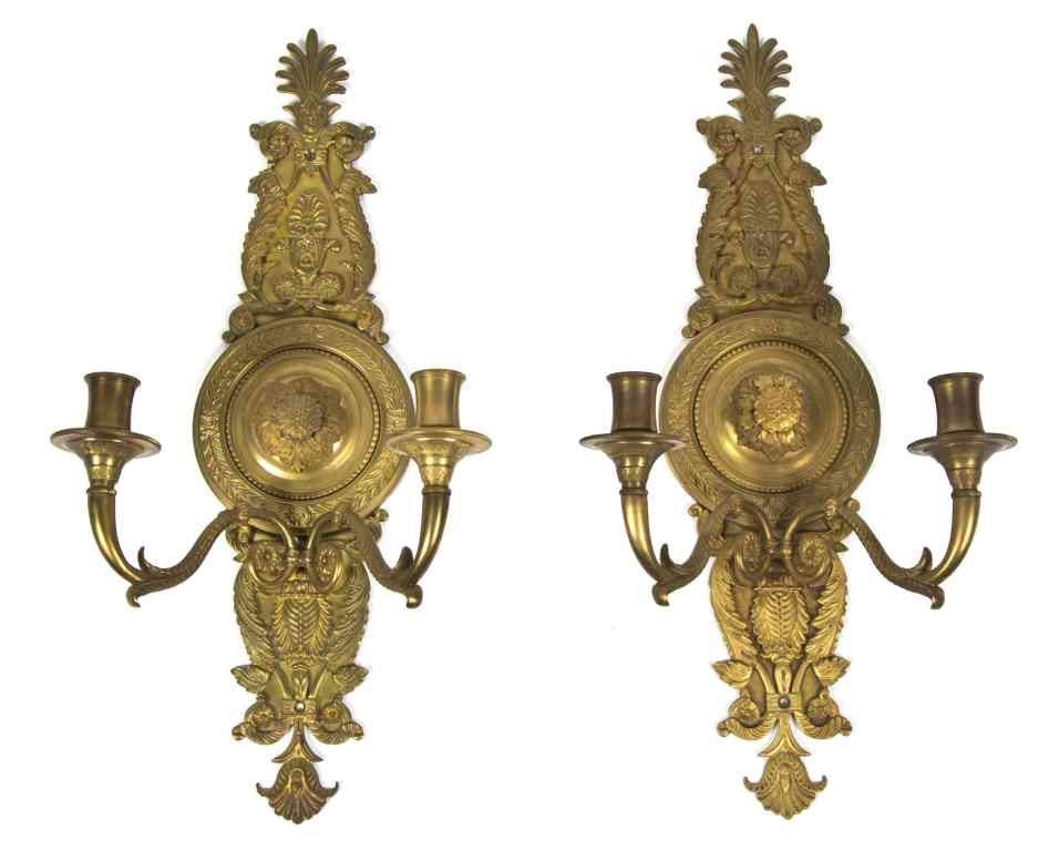 284: A Pair of Empire Style Gilt Bronze Two-Light Sconc