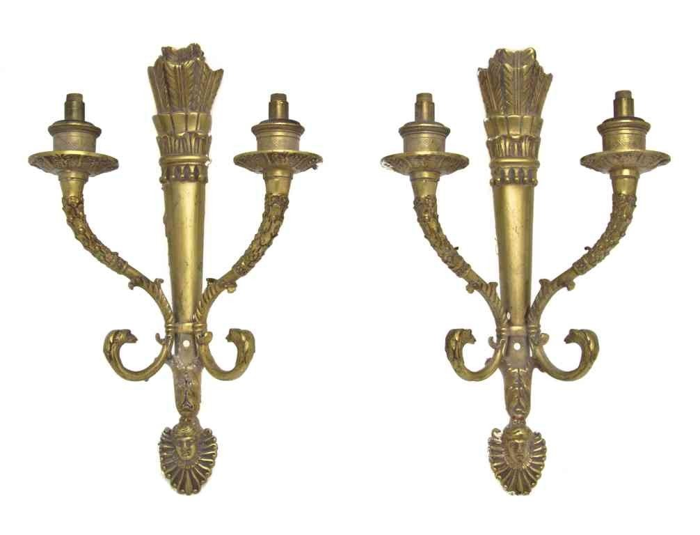 285: A Pair of Empire Style Gilt Bronze Two-Light Sconc