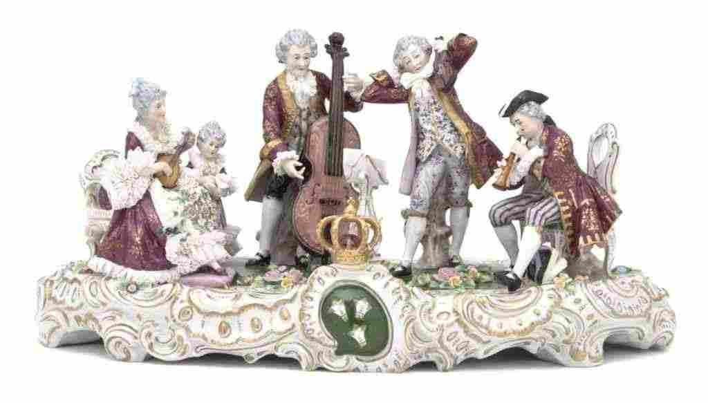 402: A Dresden Porcelain Figural Group, Height 10 x wid