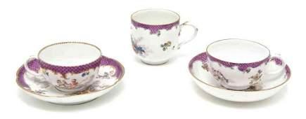 445 Two Meissen Porcelain Teacup and Saucer Sets Diam