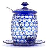 514: A Bohemian Glass Cut to Clear Punch Bowl, Height o