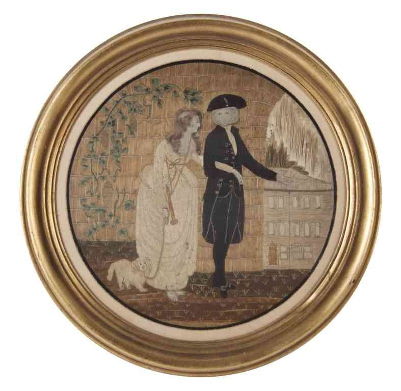598: An American Needlework Picture, Diameter 12 inches