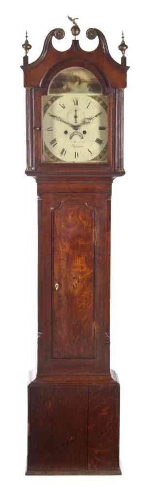602: An American Oak Tall Case Clock, Howard, Height 82