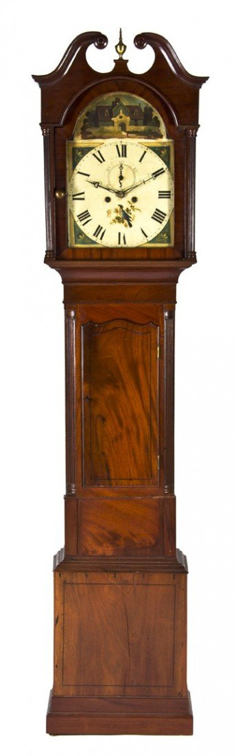 603: An American Mahogany Tall Case Clock, Height 85 1/