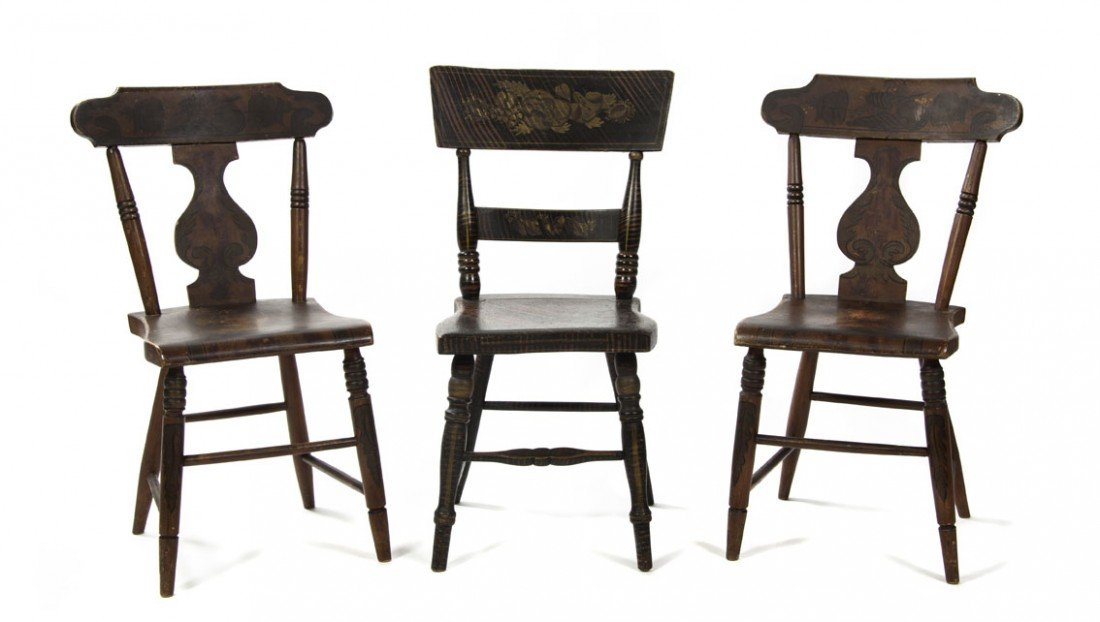 604: A Pair of American Painted Side Chairs, Height of