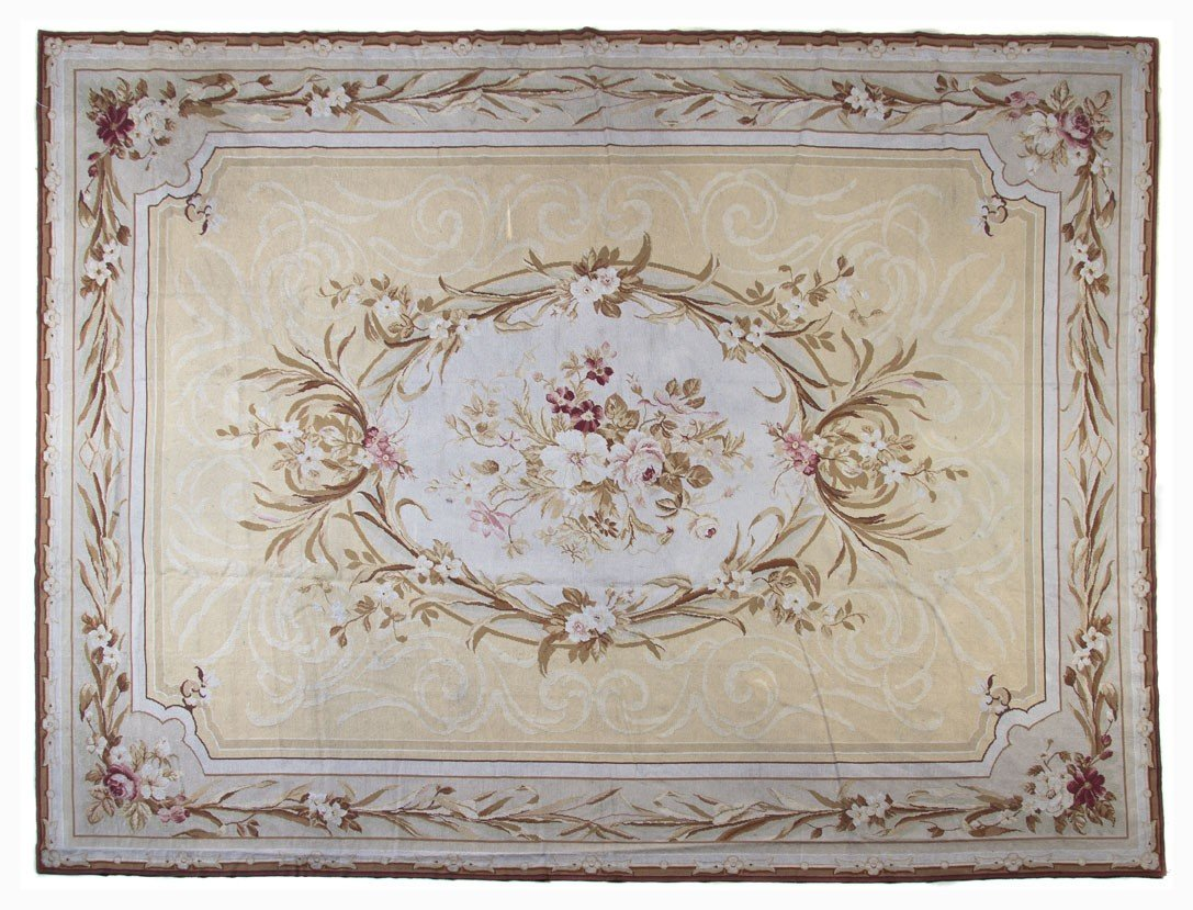 606: An Aubusson Style Wool Rug, Stark, 11 feet 7 inche
