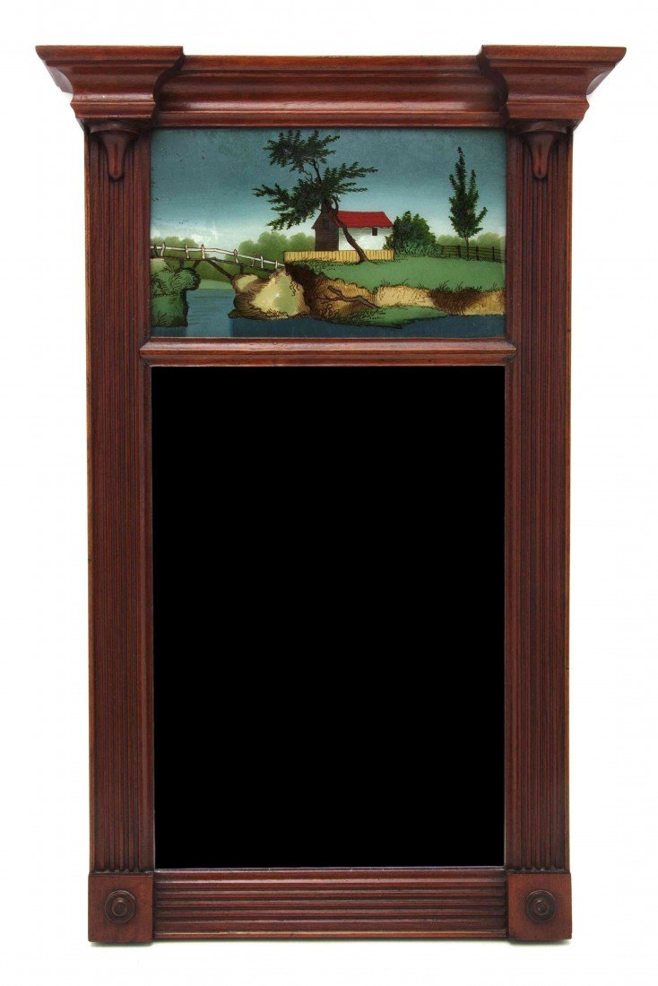 616: An American Federal Mahogany and Eglomise Mirror,