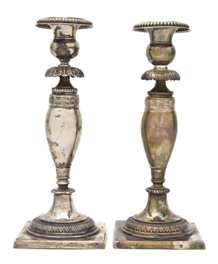 767: A Pair of German Silver Candlesticks, Height 9 3/4