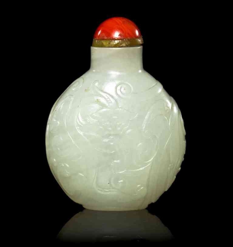 3: A White Jade Snuff Bottle, Height 2 1/4 inches.