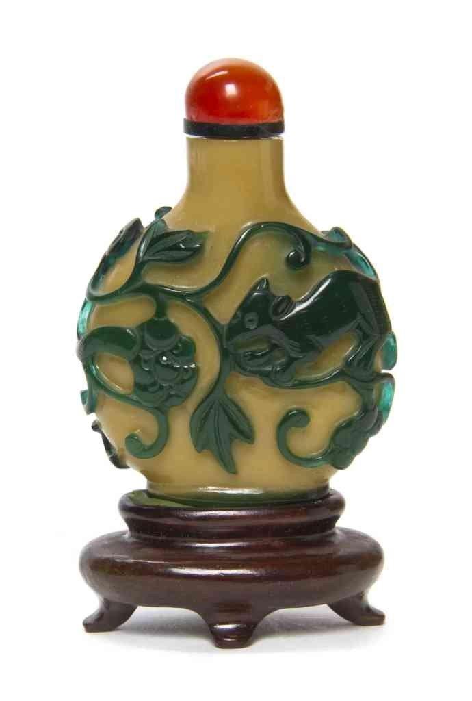 5: A Green-Overlay Mustard Glass Snuff Bottle, Height 2