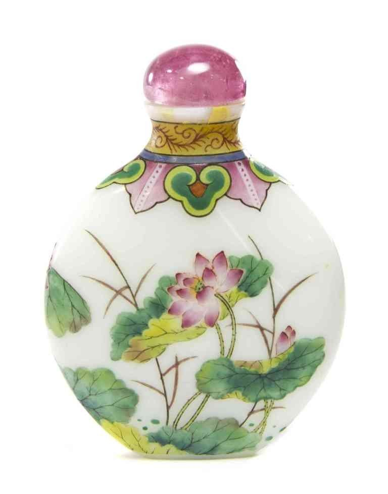 11: An Enameled Glass Snuff Bottle, Height 3 inches.