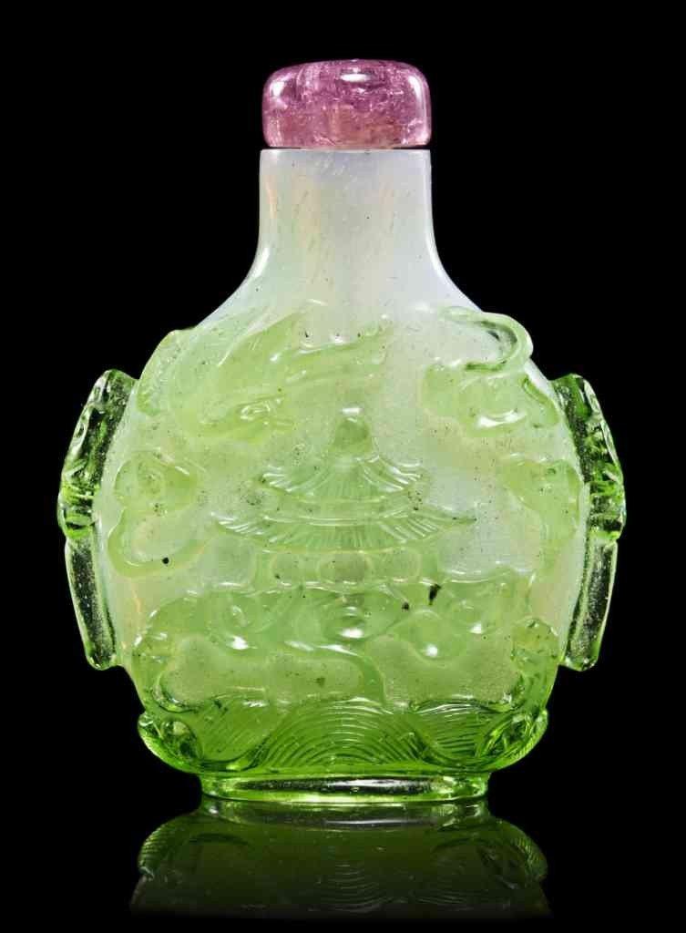 14: A Rare Glass Overlay Snuff Bottle, Height 2 1/8 inc