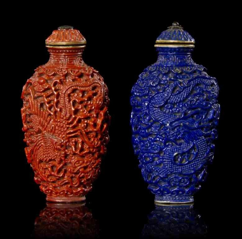 20: Two Porcelain Snuff Bottles, Height with lid 3 1/4
