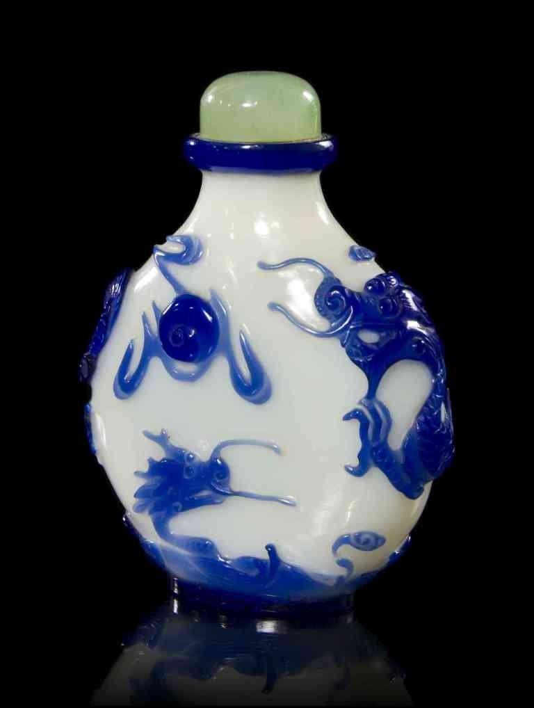 23: A Blue Overlay Milk Glass Snuff Bottle, Height 2 1/