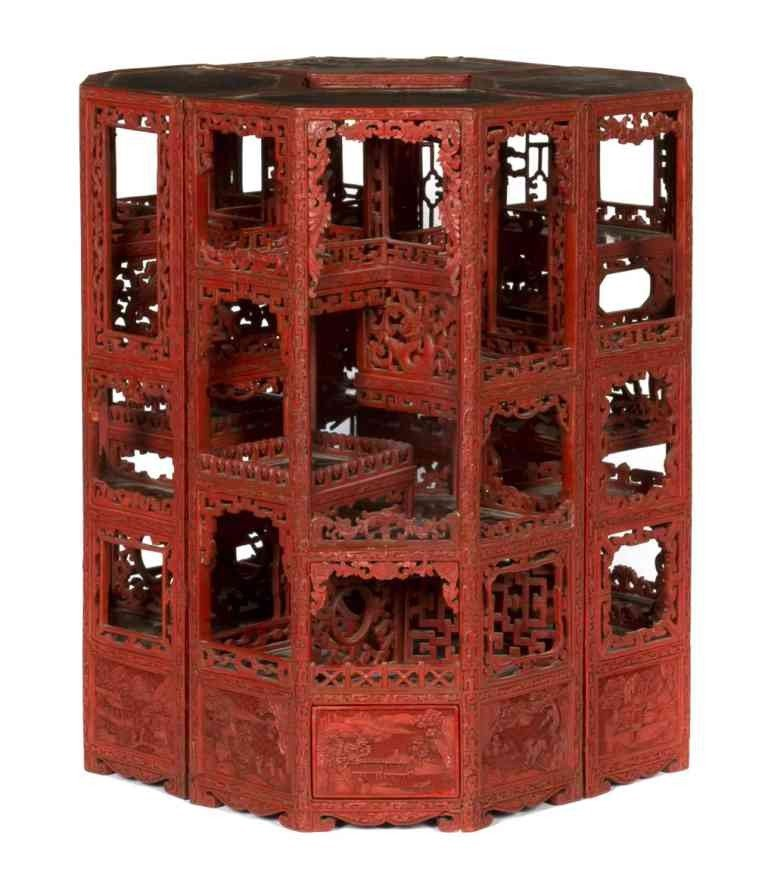 62: A Rare and Important Carved Cinnabar Lacquer Treasu